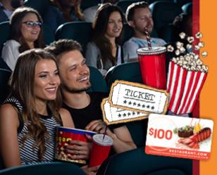 Restaurant.com: Dinner and a Movie! 2 Movie Tickets + $100 Restaurant.com Card for $30!